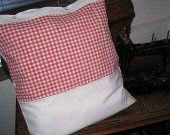 """Antique country house pillowcase red white plaid, 15.7X15.7 """", hand-woven cotton fabric, white linen, original button-strip, plaid, red"""
