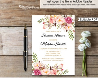 Bridal Shower Invitation, Boho Chic Bridal Shower Invite, Watercolour Bridal Shower Invitation, Editable PDF - you personalize at home #A008