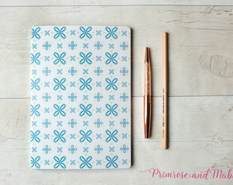 A5 Geometric Notebook, A5 Sketchbook, Notebook, Plain Paper Notebook, Geometric Stationery, Designer Stationery, Pattern Notebook