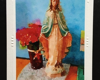 Blessed Virgin Mary Picture Card, Our Lady 5 X 7 Blank Greeting Card, Catholic Stationary Watercolor Notecard, Watercolour Virgin Mary Image