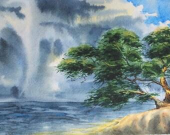 """ORIGINAL Watercolor painting, Watercolor landscape painting, Original art, watercolor painting, Summer landscape,  The storm 10 1/2""""x7"""" A4"""