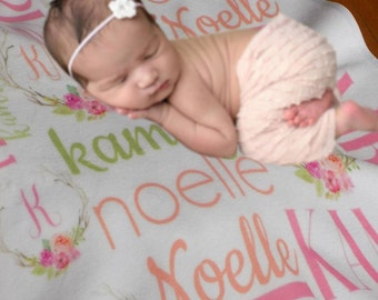 personalized Swaddle Blanket, Personalized Baby Blanket, Baby Name Blanket, Receiving Blanket, Baby Shower Gift,Newborn Blanket