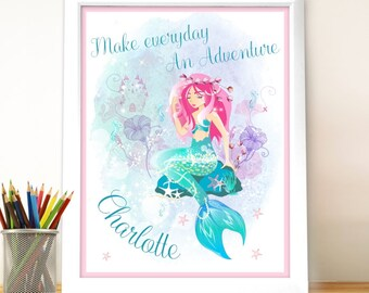 Personalised Magical Mermaid Poster Frame- Birthday, Decor, Girls, For her