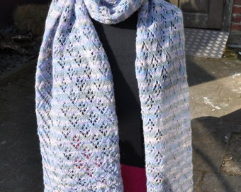 Hand knitted scarf in various pastel shades