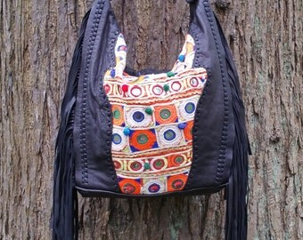 Leather Fringed Hobo, Bohemian Fringed Shoulder Bag, Soft Buttery Leather Gypsy Bag
