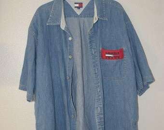 Vintage Tommy Jeans Denim Button Down , Size 2XL(fits xl) , Perfect condition, free shipping