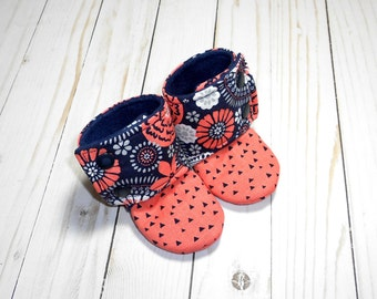 Floral Geo Collection | Stay-on Baby Booties | Coral & Navy