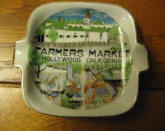 1950's souvenir ashtray  Farmers Markey    Hollywood  CA  .              - 1950's souvenir ashtray