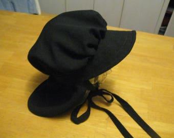ship free Handmade women  Black Mennonite Bonnet  Style Black Amish Bonnet Style  Salem Style Women's Black Headwear Free Shipping in u s a