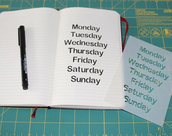 Days of the Week Notebook Stencil