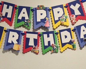 Super mario bros Birthday Banner