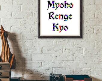 Printable Nam myoho renge kyo art wall art home decor Spirituality printable quote printable buddhism