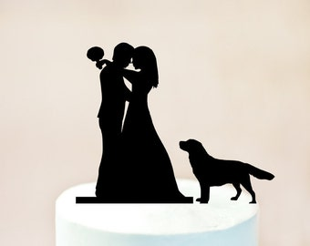 Wedding cake topper with dog, cake topper + dog, silhouette cake topper for wedding with pets, bride and groom cake topper + Retriever (1066