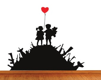 Banksy Wall Decal Sticker Boy & Girl Love On Hill Of Weapons