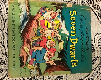 1948 Walt Disney's Come Play With the Seven Dwarfs 1st Edition - Snow White Book - A Walt Disney's Playbook For Little Folks