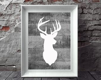 Deer Head Print, Deer Head Art, Printable Deer Head, Wall Decor