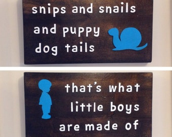 Rustic Nursery Décor Little Boys Nursery Wall Art Wood Sign Sayings Boys Room Snips and Snails