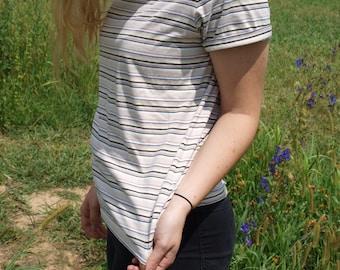 Vintage 90s Cream Striped T-shirt
