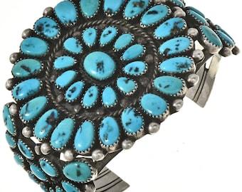 Vintage Old Pawn Kingman Turquoise Cluster Cuff Bracelet Alvin Boy 1988