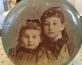 Antique Celliod Tin Photo, Sister Photo 1930s