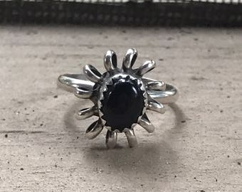 Vintage Onyx Flower Ring, Sterling Silver, Silver and Onyx Ring, Size 6 1/4