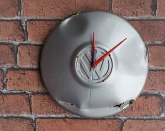 VW, Hubcap clock, Unique Clock, Vintage clock, Steampunk clock, Wall clock, Clocks, Retro clock, Original gift, Wall art, Wall décor,