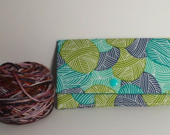 "4"" Double Point Knitting Needle Case, Sock Knitting Needle Case, Cable needle case, Yarn ball print Needle Case"