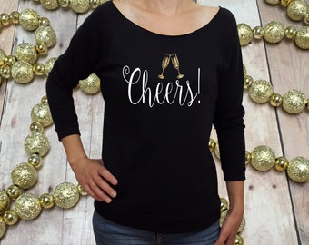 new years shirt, new years eve shirt, womens new years shirt, CHEERS, 2017 shirt, glitter new years, cheers shirt