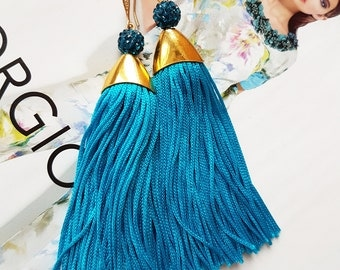 Sky Blue Fringe tassel earrings , Sping Statement earrings Tassel Earrings Gold plated tender pikn fringe bridal earrings
