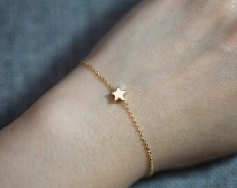 Little star bracelet//gold plated//Minimalist//Simple//Dainty//Everyday//GP015