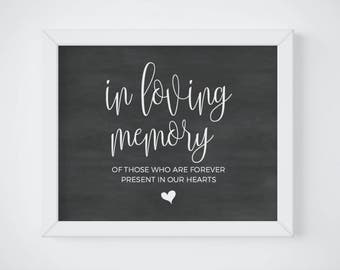 Chalkboard In Loving Memory Sign, Wedding Remembrance Sign, Chalkboard Memorial Table, Wedding Memorial Table, Wedding Memorial Sign Digital