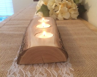 Tea Light Log Candle Holders