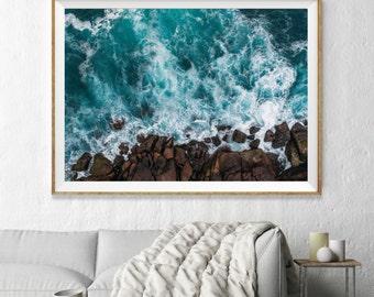 Aqua Ocean Aerial Beach Photography, Large Wall Art Decor, Colour Fine Art Photography, Art Prints, Blue Umbrellas, Beach, Turquoise Aqua