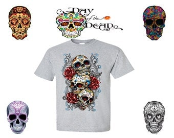 Three Sugar Skulls And Roses Sugar Skull Day Of The Dead Shirt - Skull Shirt Sugar Skull Day Of The Dead Calavera T Shirt