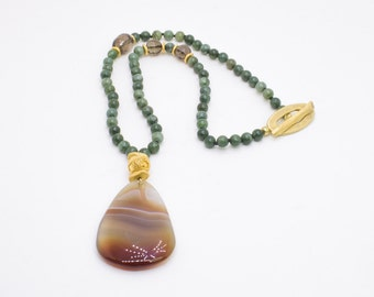 Agate Pendant Necklace with Jade. Beaded jade necklce with agate pendant