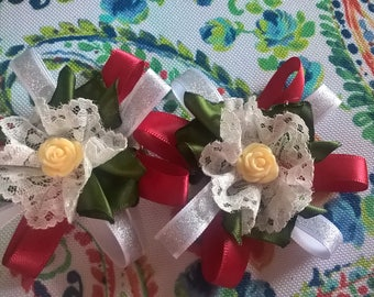Red, White, Green and Lace Flower on Clips