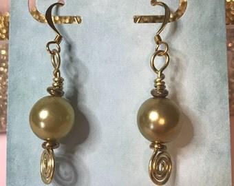 Sage Green glass pearl earrings