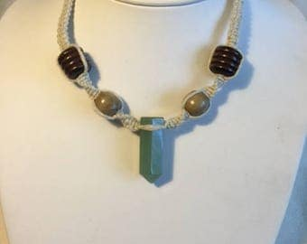 Green Aventurine Single Terminated Point Pendant Necklace