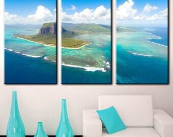 Island Canvas, big Island, Cloudy Skies, beach on the island, Island in the sea, blue sea, scenery on island, island prints, island art