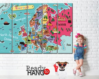 Kids word map, Nursery world map, Europe world map, Attraction world map, Attraction Europe, World Map, World map canvas, Nursery wall art