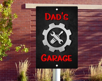 Custom Dad Garage Wall or Parking Metal Sign Indoor Outdoor Decor Gift Any Name Available 8x12