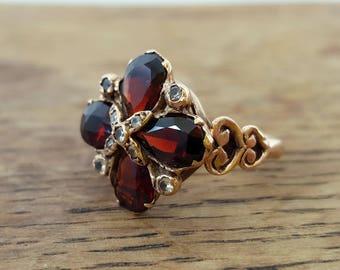 Vintage Georgian Style 9ct Rose Gold Garnet & Paste Cluster Ring
