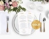 Menu cards wedding   Gold Wedding Menu Card Template  Printable menu card  Gold wedding program  Downloadable wedding WDH0111