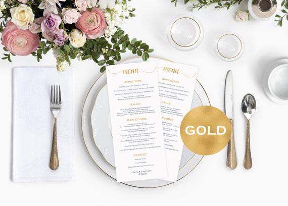 Menu cards wedding -  Gold Wedding Menu Card Template - Printable menu card - Gold wedding program - Downloadable wedding #WDH0111