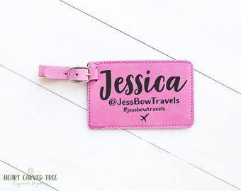 Luggage Tag Personalized Name, Gift for Business Travel, Travel Blogger, Vlogger, Hashtag, Travel Baggage Tag, Expat Gift, Travel Gifts LT10