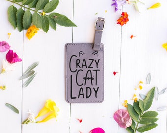 Crazy Cat Lady Gifts, Luggage Tag for Cat Lover, Gift for Best Friend, Sister, Cat Crazy, Cat Gifts, Cat Ears and Whiskers Baggage Tag LT11