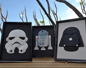 Illustration mask, darth vader, stormtrooper, r2d2 on paper with plastic frame. Paper sculpture with plastic star wars frame illustration