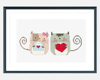 Cat cross stitch pattern, Love Cross stitch pattern, modern cross stitch pattern pdf