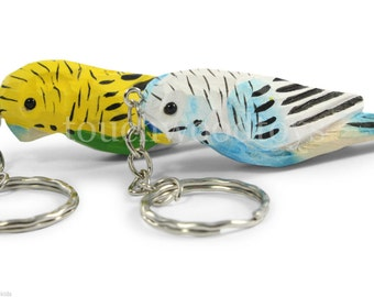 Wooden budgie keyrings bird shaped Budgerigar bird key rings Set of two