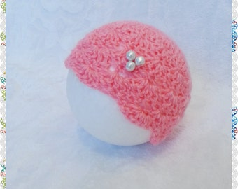 Crochet yarn baby girl hat.Photography props.